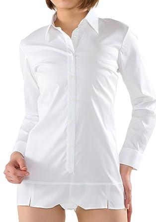 Leonis Women s Premium Stretch Easy Care Long Sleeve Bodysuit Shirt White  (XXS  0  dcbf0d3e7