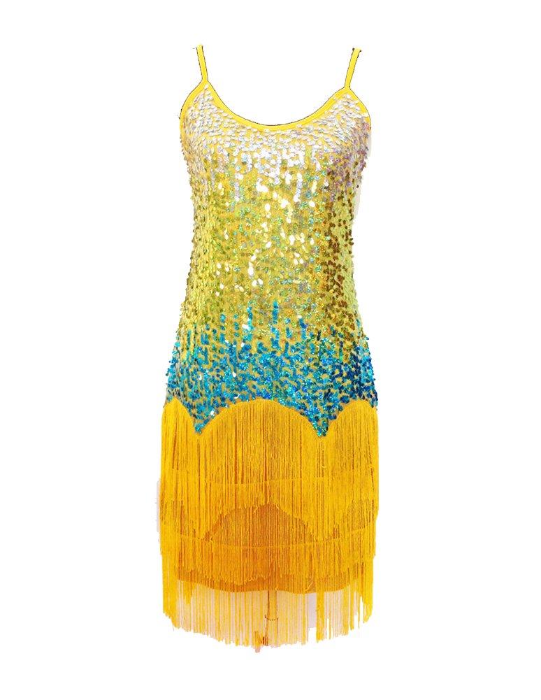 Mujer Salsa Tango Baile Latino Vestidos Elegante Lentejuelas Borla Multicolor Vestido Amarillo Un-Tamaño: Amazon.es: Ropa y accesorios