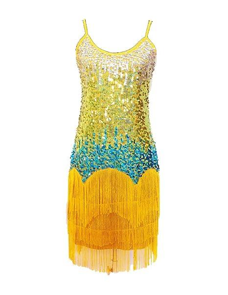 Mujer Salsa Tango Baile Latino Vestidos Elegante Lentejuelas Borla Vestido Amarillo Un-Tamaño: Amazon.es: Ropa y accesorios