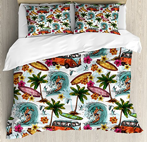 Ambesonne Ocean Duvet Cover Set, Hawaiian Surfer on Wavy Deep Sea Retro Style Palm Trees Flowers Surf Boards Print, 3 Piece Bedding Set with Pillow Shams, Queen/Full, - Bedding Hawaiian Print
