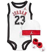 Nike Jordan 23 Jumpman 3 Piece Infant Set, White/Red.