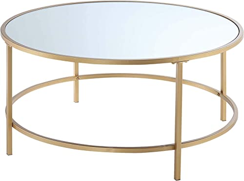 Convenience Concepts Gold Coast Mirrored Round Coffee Table, Mirrored Top Gold Frame