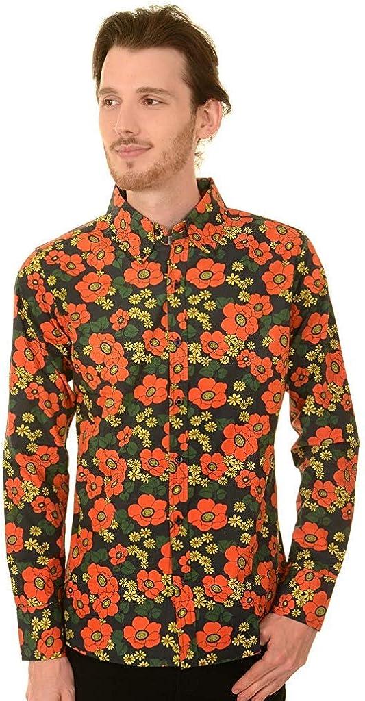 Run & Fly Hombre Años 60 Retro Floral Amapola con Botones Camisa: Amazon.es: Ropa y accesorios