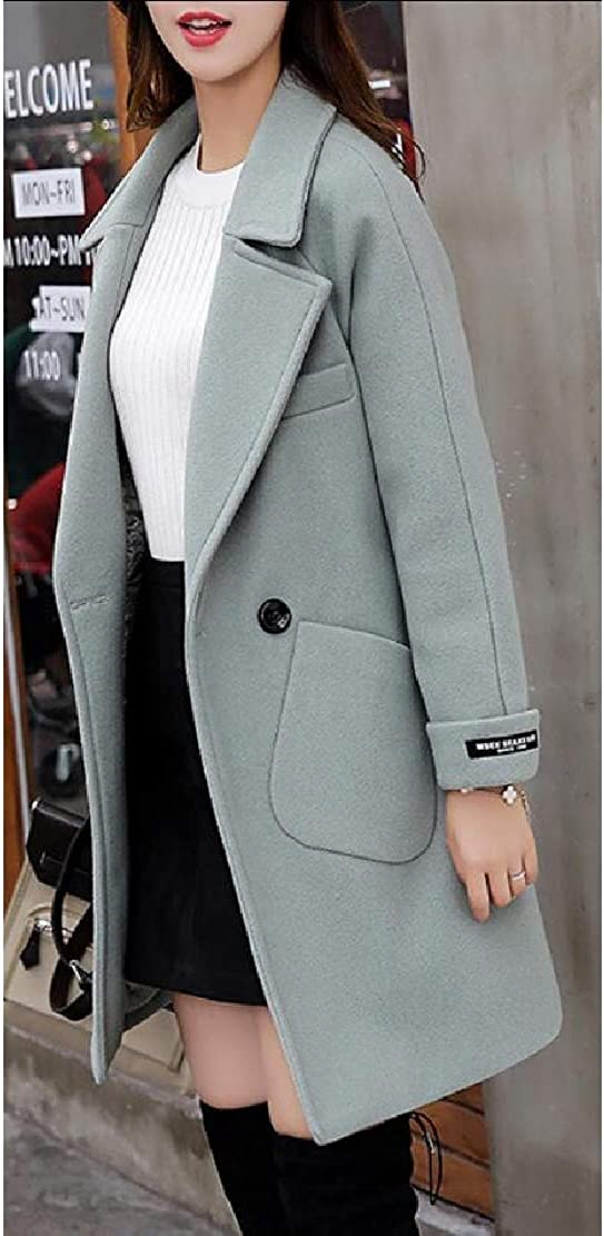 Keaac Womens Overcoats Winter Classic Double Breasted Laple Long Wool Trench Coat