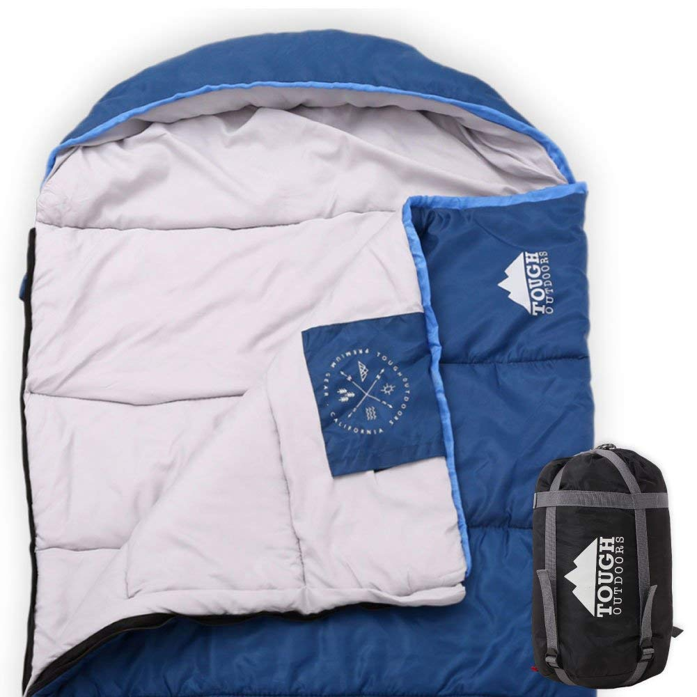 All Season XL Hooded Sleeping Bag with Compression Sack - Perfect for Camping, Backpacking, Hiking. Temperature Range 32-60°F. Fits Adults up to 6'6. Tough Ripstop Waterproof Shell & High-Loft Fill by Tough Outdoors