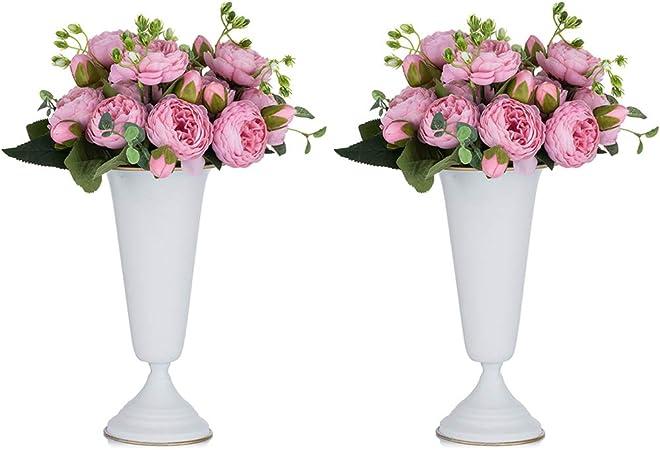 2 Piezas Florero de Trompeta de Metal con Flores para Centros Mesa de Boda para Decoración Banquetes Boda, Arreglos de Flores Artificiales 26.7cm Altura para la Ceremonia de Aniversario, Blanco: Amazon.es: Hogar