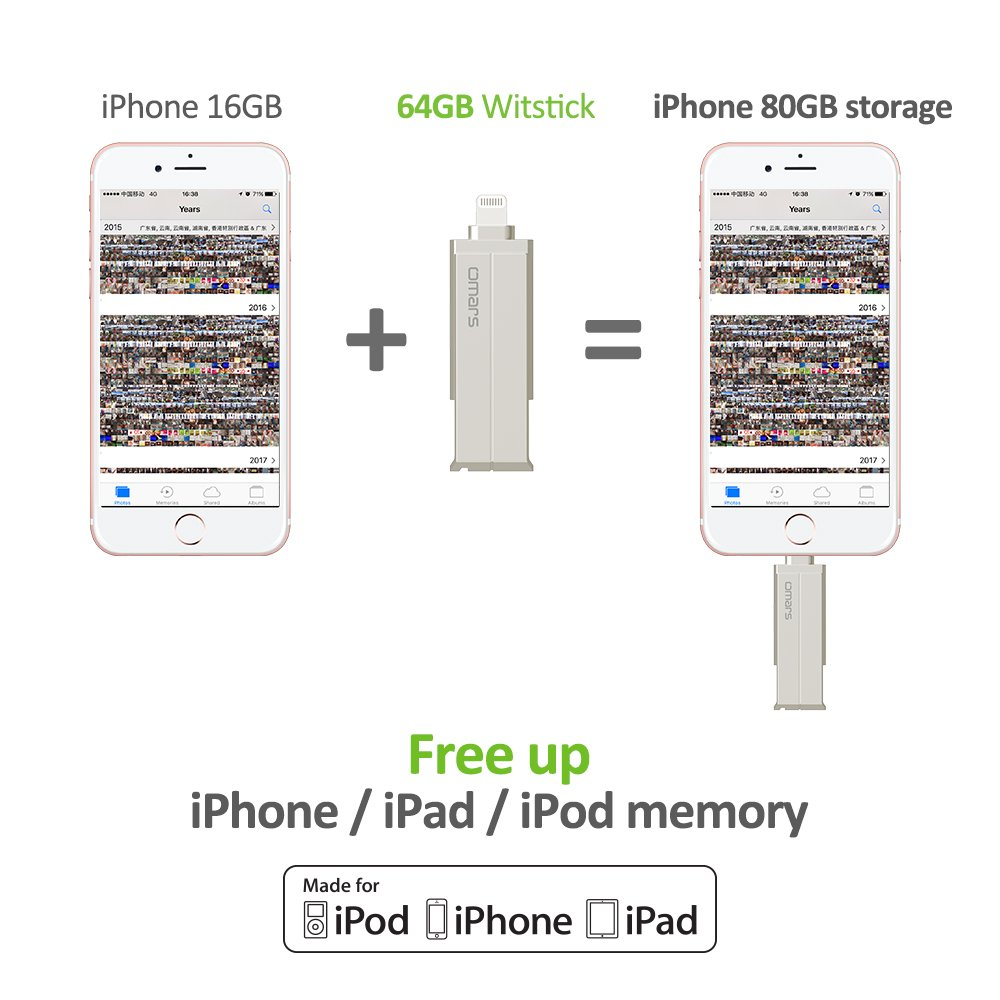 Memoria USB 3.0 Para iPhone iPad Aluminio 64GB Pendrive OMARS [ Certificado MFI de Apple] Flash Drive Memoria Externa Para iPhone 7 Plus, 7, 6s Plus, 6s, 6 Plus, 6, 5, 5s, iPad Pro, iPad Air, iPad Mini, iPad Mini 4/3/2, iPad 3/2, PC Ordenad