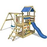 Wickey gioco torre Turbo Flyer kletter Torre Parco giochi con Sabbiera altalena parete di arrampicata e scala di corda, blu scivolo + Blu Plane