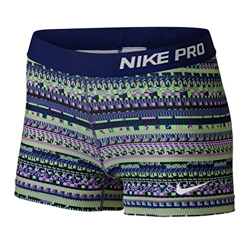 Nike Women's Pro Cool 3-Inch Training Shorts (Blue/Purple/Green/X-Small)