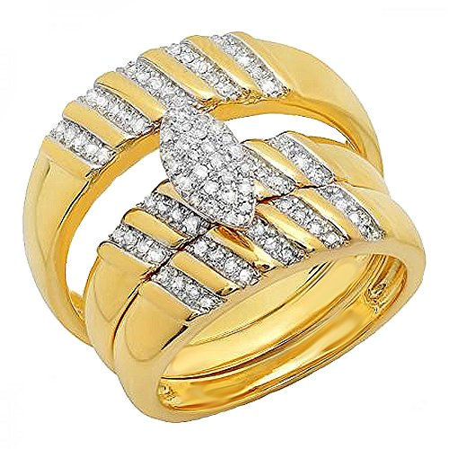 Gold Trio Set Ring - 0.35 Carat (ctw) 18K Yellow Gold Plated Sterling Silver Diamond Unisex Engagement Ring Trio Set 1/3 CT
