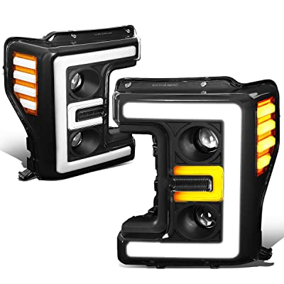 DNA MOTORING HL-LB-F25018-BK-AM Pair LED DRL+Turn Signal Dual Projector Headlight Lamps Set: Automotive