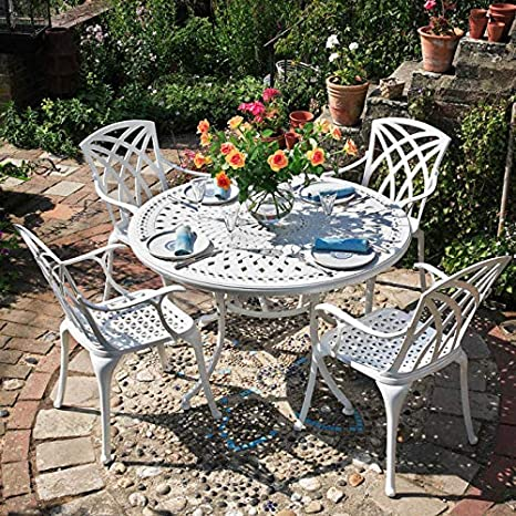 Lazy Susan - Table ronde 120 cm ALICE et 4 chaises de jardin - Salon de  jardin en aluminium moulé, Blanc (chaises APRIL)