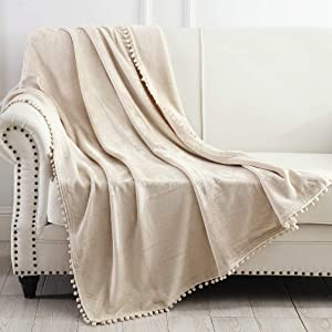"""NordECO HOME Flannel Throw Blanket - Soft Cozy Warm Blanket with Pompom Fringe for Couch Bed Sofa Chair, 50"""" x 60"""", Beige Brown"""