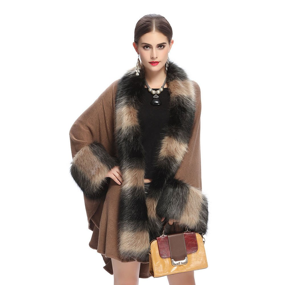 a4ee9590a8c8 Women Luxury Elegant Faux Fur Shawl Wraps Cloak Coat Sweater Cape Poncho   Amazon.co.uk  Clothing