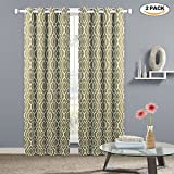 thermal shower curtain - Moroccan Printed Blackout Room Darkening Curtains,Lattice Geometric Thermal Insulated Grommet Blackout Curtains Window Treatment for Bedroom/Living Room - Natural,52