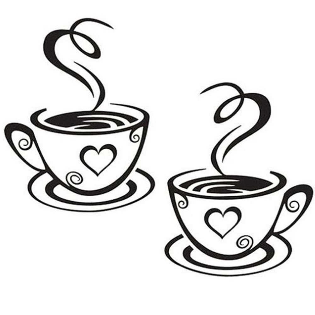 LAMEIDA Pegatinas de Pared Un Par de Tazas de Café de Adhesivos Pared Extraíble de Arte para Café Ventana de Cristal de la Cocina Casera
