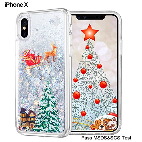 iPhone X Christmas Case, Maxdara [Screen Protector] Merry Christmas Tree Pattern Glitter Liquid Bling Sparkle Case Pretty Cute New Design for Girls Children Gifts for iPhone X 5.8 inch (For Iphone Gift Christmas)