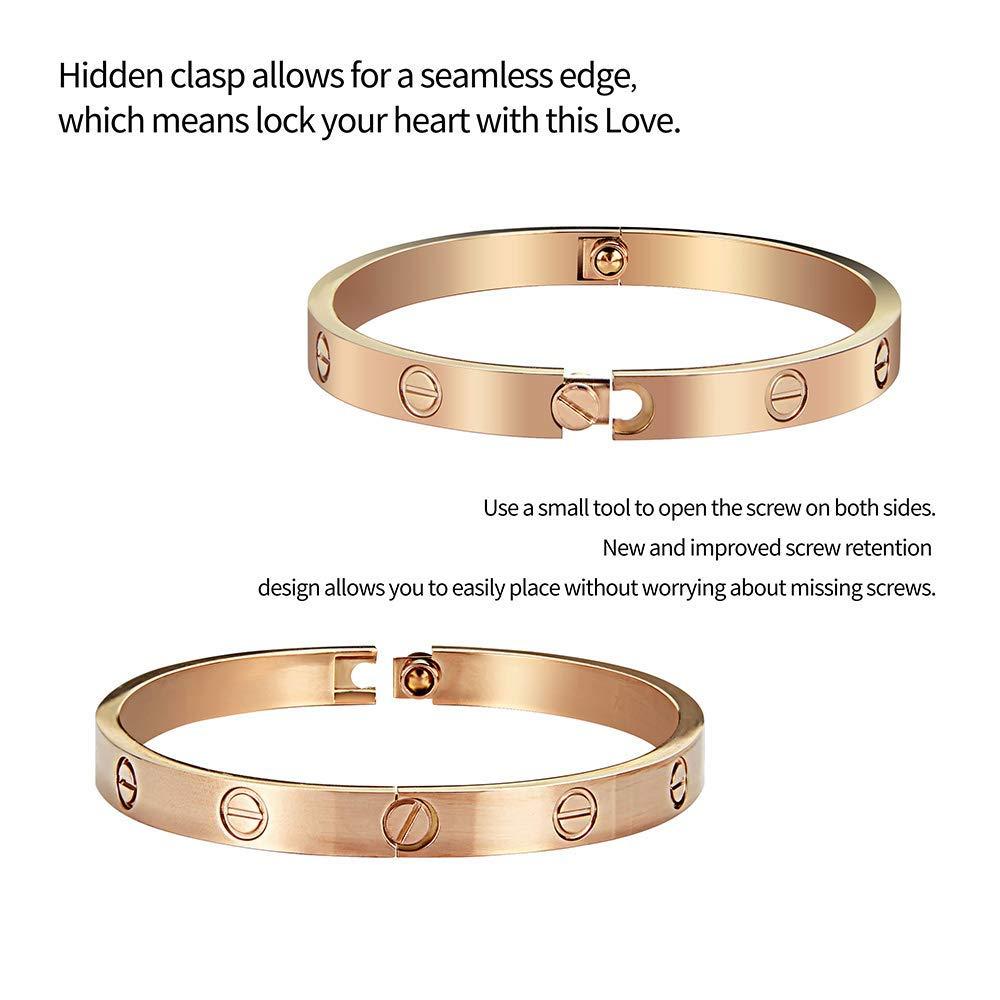 CARDALLTRY Bangle Bracelet 18k Titanium Steel Love Bracelet with Screwdriver