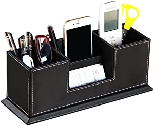 PU Leather Multi-Function Desk Stationery Organizer Storage Box for Pen Pencil Business Cards Stand Mobile Phone/Remote Control Holder Nightstand Office Supplies Organizer(Black)