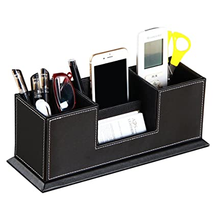 Pen Holders Multifunctional Office Desktop Decor Storage Box Leather Stationery Organizer Pen Pencils Remote Control Mobile Phone Holder