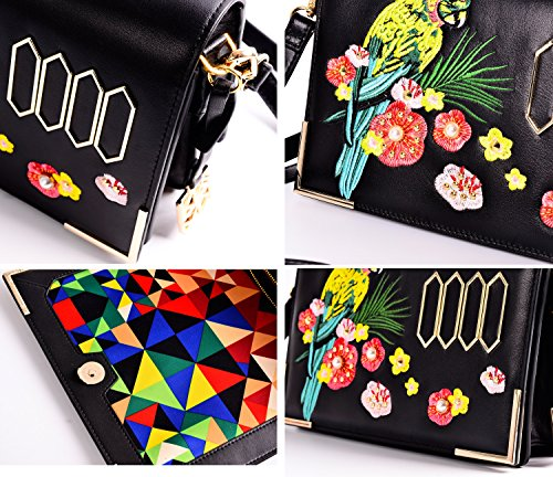 Clutch Women Genuine Embroidery Shoulder KZNI Crossbody Leather Bags Handbag w4XfBxn