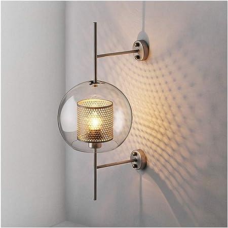 Aplique pared lampara Lámpara de Pared Retro Creativo Tarro de Cristal E27 Bedside Escalera café lámpara de Pared (Color : Bronce, Tamaño : A-Small): Amazon.es: Hogar