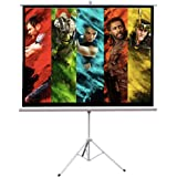 Projector Screen with Tripod Stand, FOME White Glass Fiber 100 inch Projector Screen Portable Indoor Outdoor Movie…
