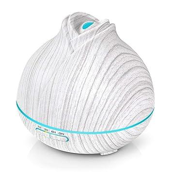 400ML Difusor Aceites Esenciales Aromaterapia Ultras/ónica Humidificador de Aire Grano de Madera Difusor de Aroma Para El Hogar Oficina Spa Beb/é Habitaci/ón para Ni/ños,D/ía Completo o Noche Madera Blanca