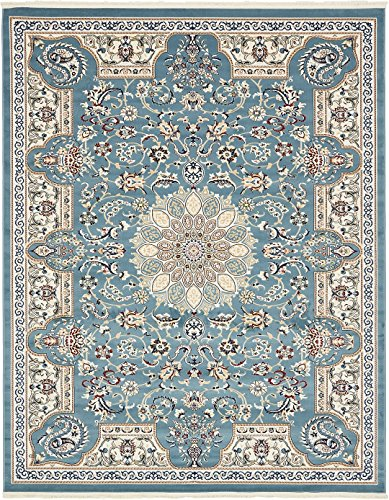 - Nain Collection Persian Isfahan Design Traditional Area Rug (8' x 10' FT) Blue Living & Dinning Room Décor
