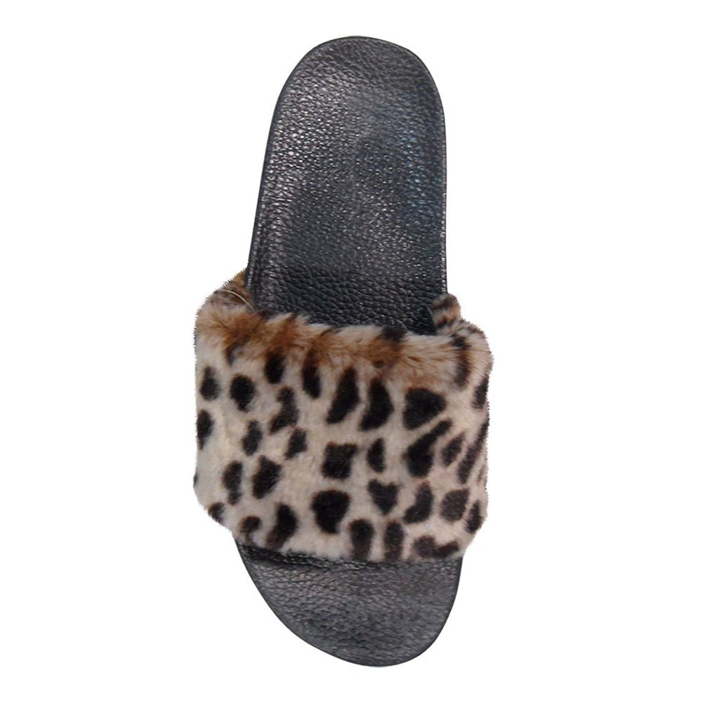 Top Leopard Fun Cute Western Small Wedge Toeless Slipper Women Wide Strap Low Heel Summer Heeled Sweet Indoor House Bedroom Sandal Flipflop Flat Shoe for Her Ladies Teen Girl (Size 6.5, Leopard)
