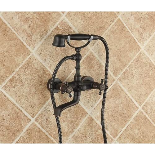 outlet Rozinsanitary Oil Rubbed Bronze Wall Mount Tub Faucet Swivel Spout Mixer Tap with Hand Shower Spray
