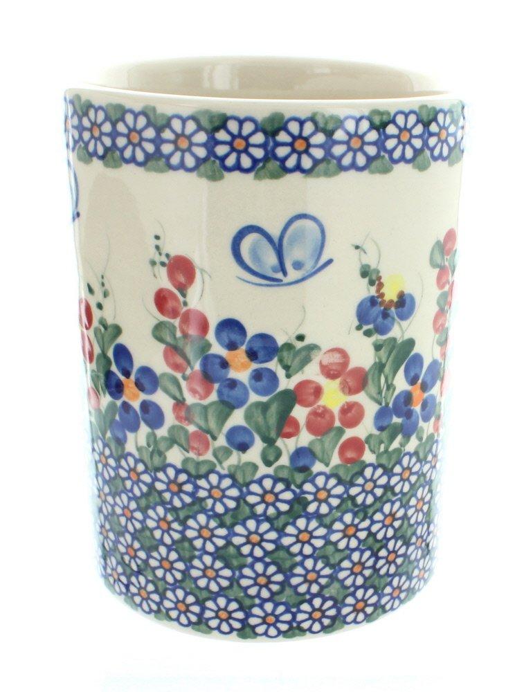 Blue Rose Polish Pottery Garden Butterfly Utensil Jar