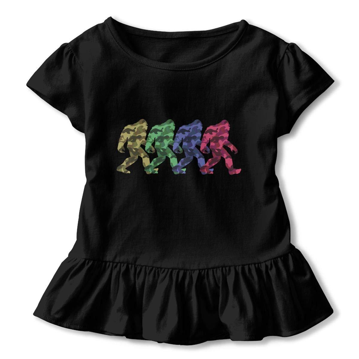Bigfoot CamoSquatch Baby Girls Summer Dress Outfits Ruffle Short T-Shirt Romper Dress,One-Piece Jumpsuit
