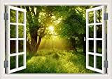 "Sunrise Forest Green Tree 3D Window Scenery Removable Wall Sticker Decal Home Decor Mural Art Wallpaper 24""X36"""