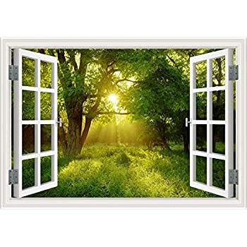 Amazon Com Sunrise Forest Green Tree 3d Window Scenery