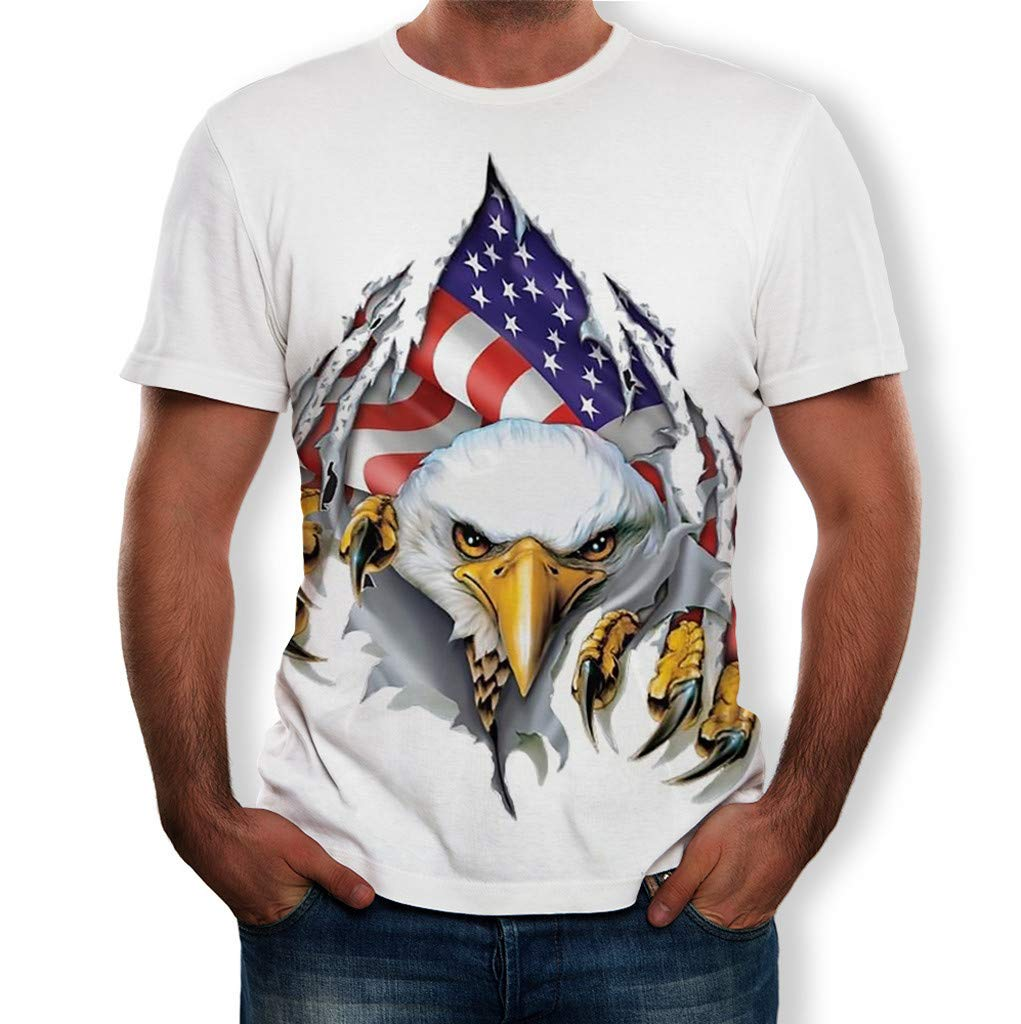 Men's Independence Day Short Sleeve Tops,US Flag 3D Ferocious Eagle Printed T-Shirts Casual Cool Summer Slim Tees White