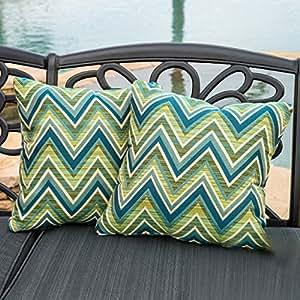 """Fischer Lagoon Green 17"""" Sunbrella Pillow (Set of 2)"""