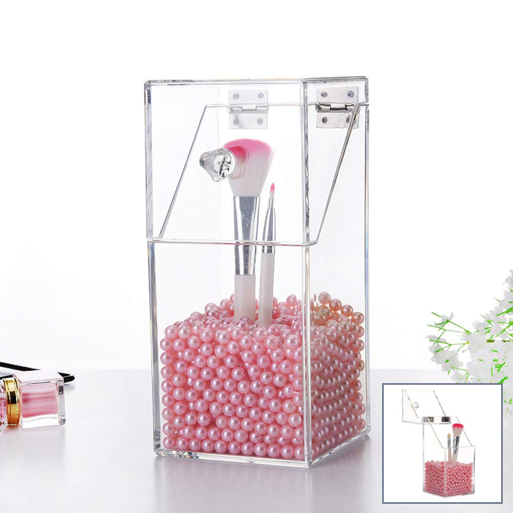 Makeup Brush Holder with Lid, Acrylic Cosmetic Brush Organizer with Pearl, Dustproof Storage for Bathroom, Bedroom(Pink)