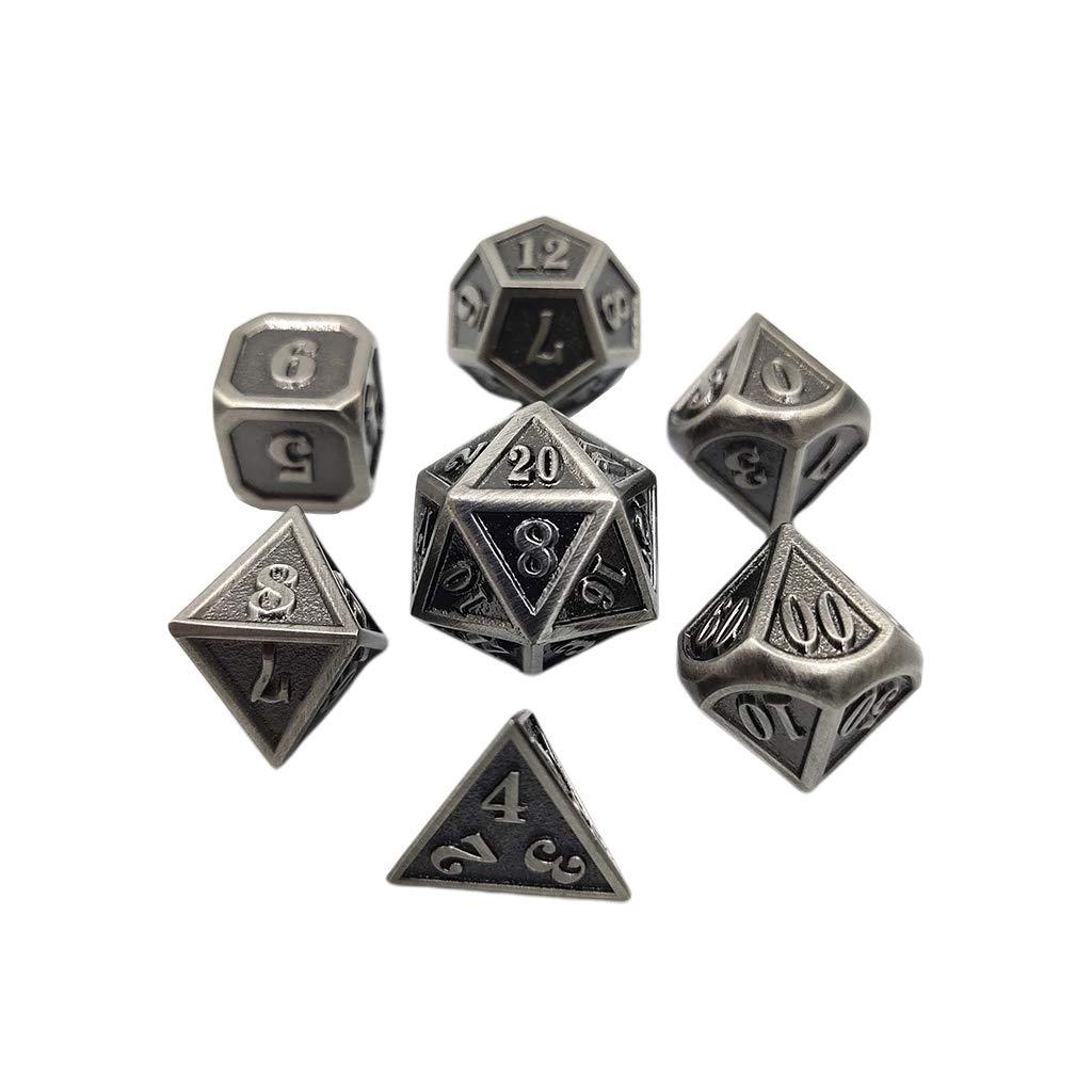 Kuvuiuee Dadi in metallo set da 7 pezzi a