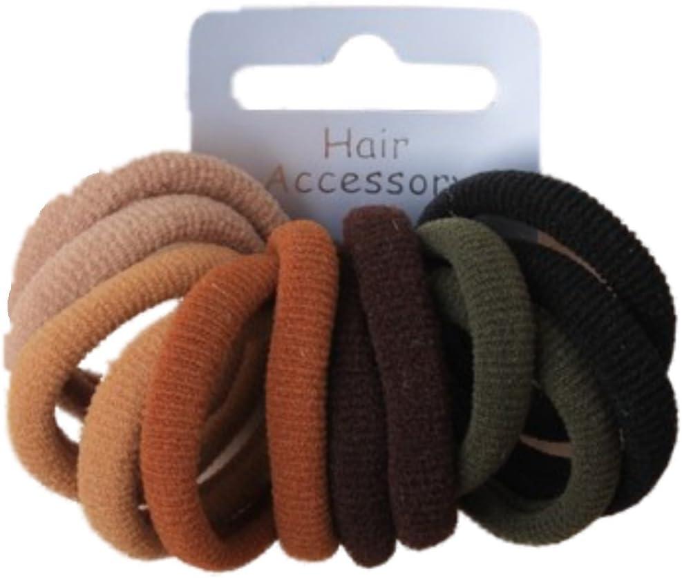 10 Piece Soft Endless Black Hair Ponio Elastic Pony Scrunchie Elastics Bobbles