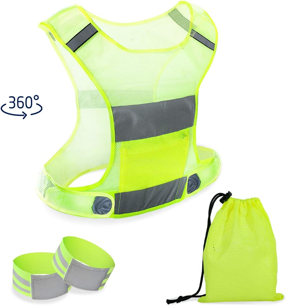 HIFEOS Reflective Vest Running Gear, Reflective Gear for Cycling, Jogging, Dog Walking, Outdoor Activities at Night, High Visibility Safety Vest with Pocket, Adjustable Arm/Ankle Band and Storage Bag