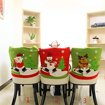kitchen chair back covers. Gillberry Christmas Santa Claus Chair Back Cover Snowman Elk Ski Dinner Table Party Decor (A Kitchen Covers I