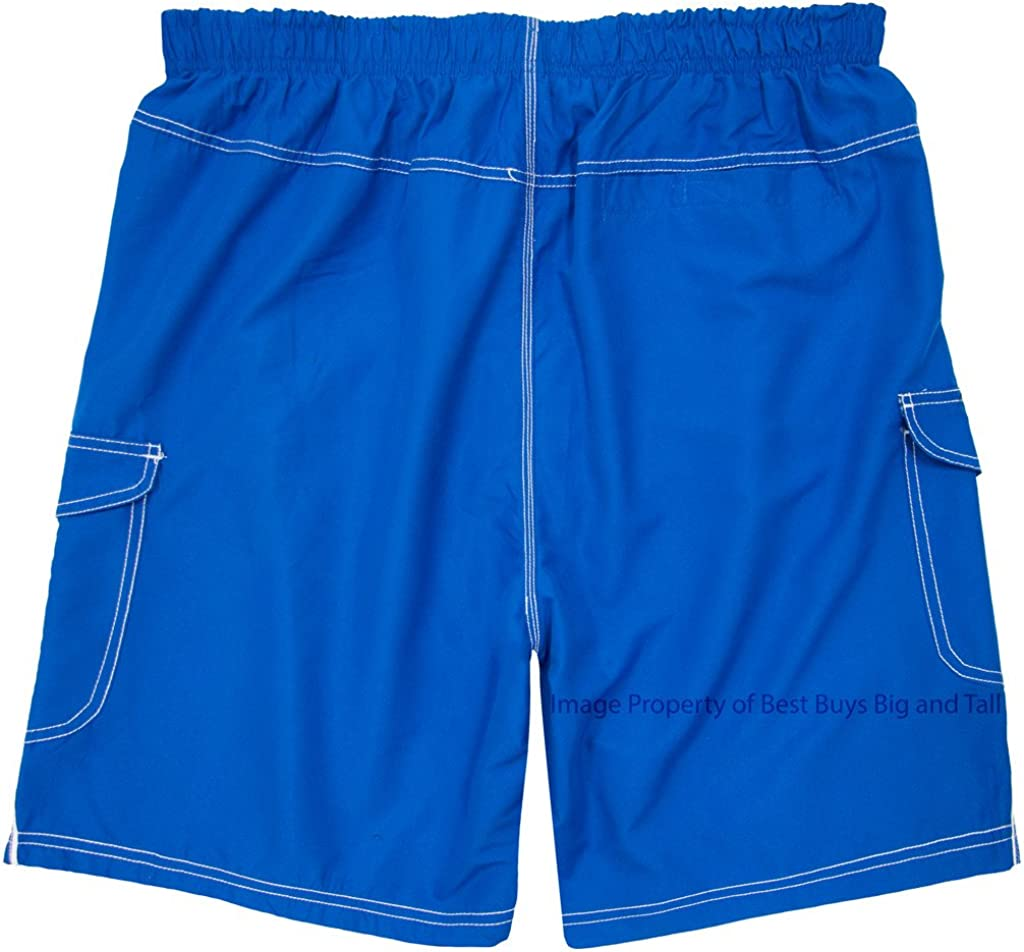 H2O Sport Tech Big /& Tall Men/'s Cargo Swim Trunks with White Piping