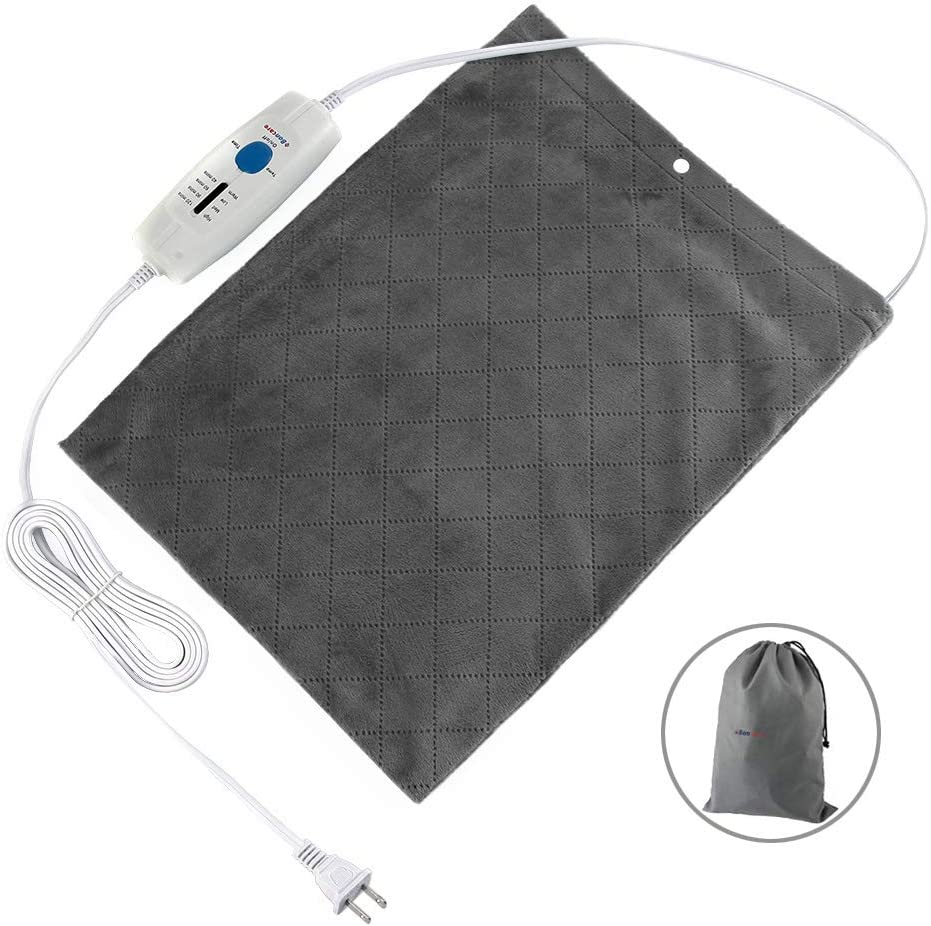 """Boncare 12""""x15"""" Large Heating Pad for Back Pain Fast Relief, Moist Heat Therapy Option, Rapid-Heat Tech Digital LCD Display 8 Temperature Settings and 6 Auto-Off Time Settings, Super Soft Velvet Grey"""