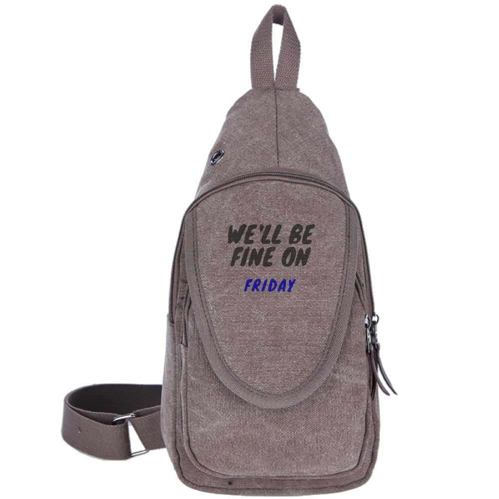 We'll Be Fine On Friday Fashion Men's Bosom Bag Cross Body New Style Men Canvas Chest Bags Brown
