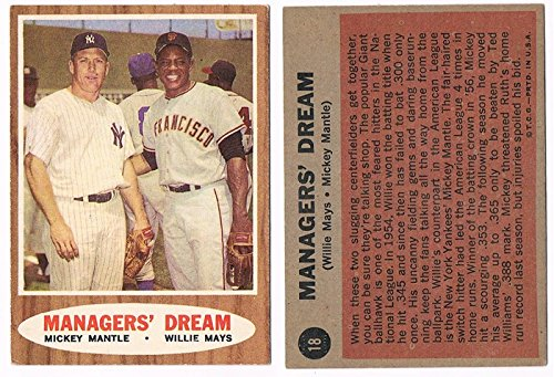 Mickey Mantle & Willie Mays 1962 Topps Manager's Dream Baseball Card