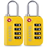 TSA Luggage Locks (2 Pack) - 4 Digit Combination Steel Padlocks - Approved Travel Lock for Suitcases & Baggage (Yellow 2…