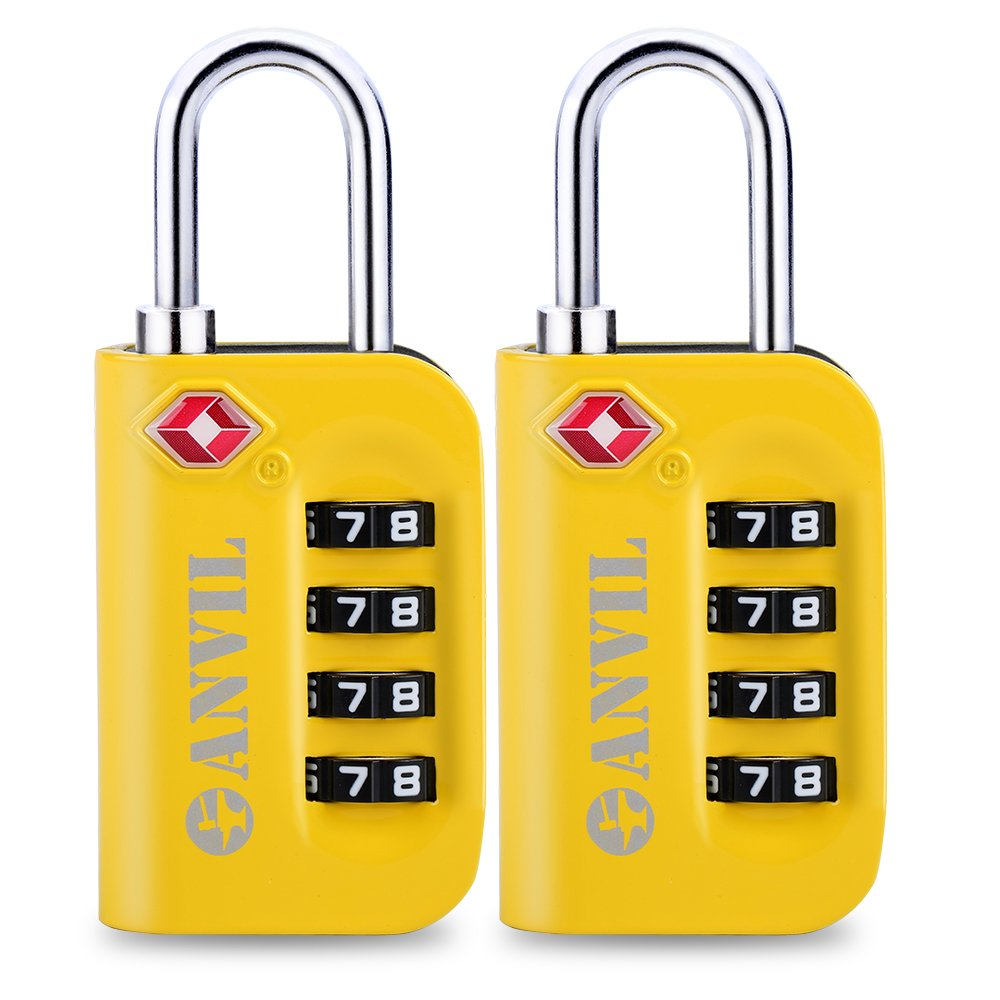 TSA Approved Luggage Lock - 4 Digit Combination padlocks with a Hardened Steel Shackle - Travel Locks for Suitcases & Baggage (YELLOW 2 PACK) by Anvil