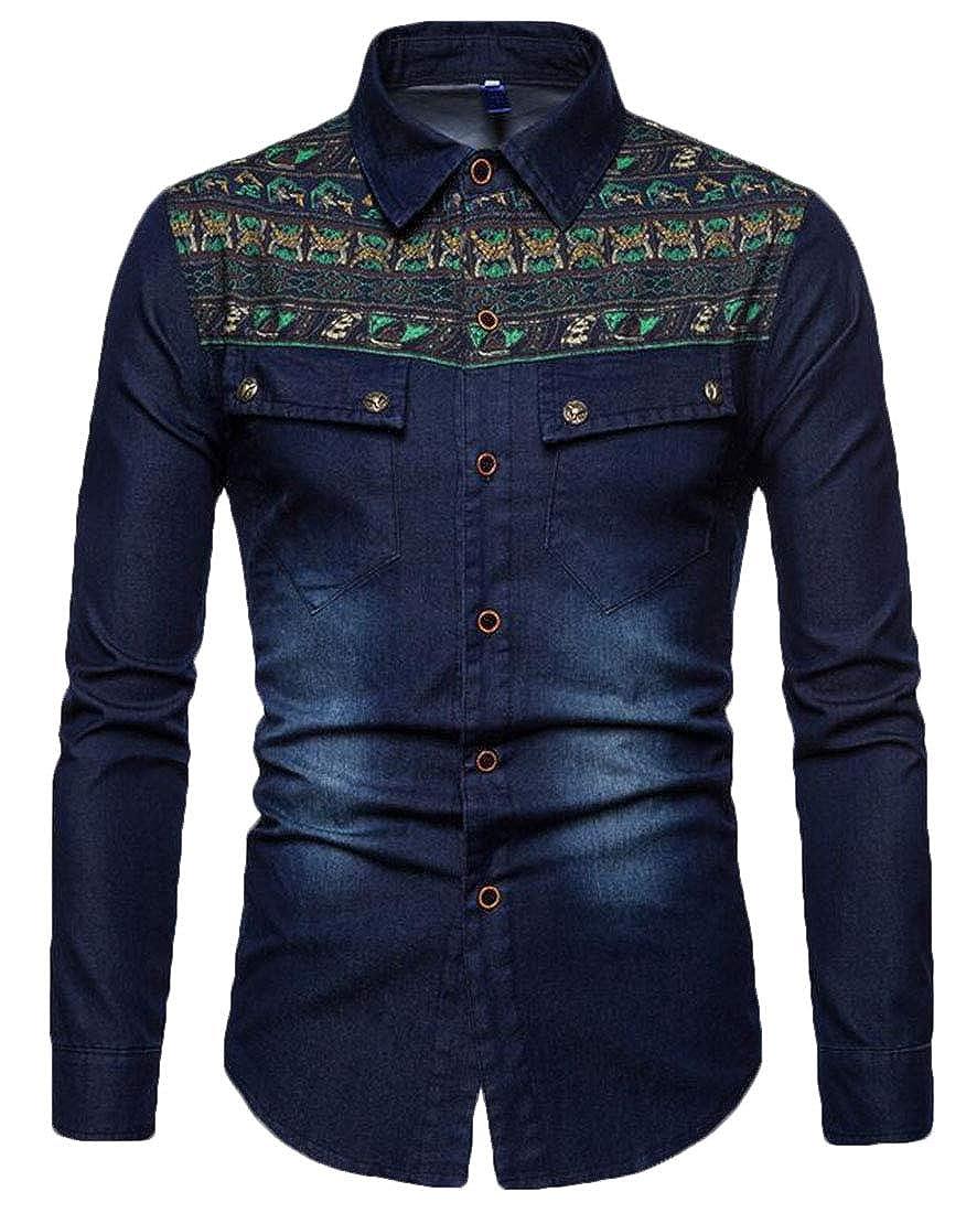 Hmarkt Men Long Sleeve Denim Slim Button Down Geek Design Ethnic Print Shirts