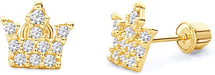 Wellingsale 14K Yellow Gold Polished 7mm Round Solitaire Basket Style Prong Set Stud Earrings With Silicone Back